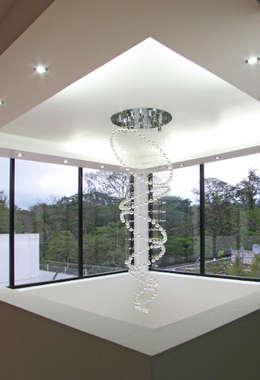 Vista desde el Interior, Detalle de iluminación y plafón: Salas de estilo moderno por Estudio Meraki