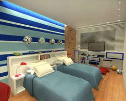 Quarto Gêmeos - Copacabana RJ: Quarto infantil  por Konverto Interiores + Arquitetura