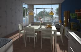 Comedor, casa Kompa-Enríquez: Comedores de estilo moderno por Axios Arquitectos