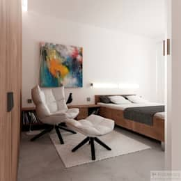 Dormitorios de estilo moderno por H+ Architektura