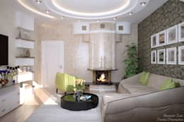 Дизайн гостиной в современном стиле  в частном доме по ул. Российской: Гостиная в . Автор – Студия интерьерного дизайна happy.design