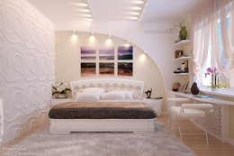 Дизайн спальни в современном стиле  в частном доме по ул. Российской: Спальни в . Автор – Студия интерьерного дизайна happy.design