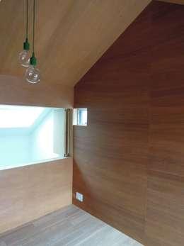 リビング吹抜けに面した子供部屋: 長久保健二設計事務所が手掛けた子供部屋です。