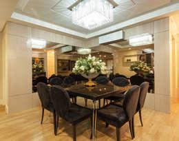 Elegância na sala de jantar: Sala de jantar  por msaviarquitetura