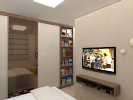 Apartamento .TK_Projeto 3D: Quartos  por Amis Arquitetura & Design