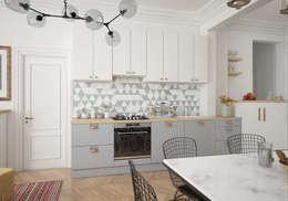 Гостиная в квартире на Ленинском проспекте: Столовые комнаты в . Автор – «Студия 3.14»