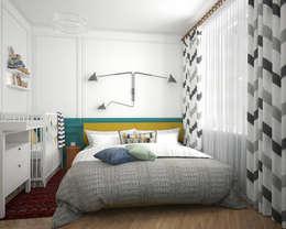 «Студия 3.14»: eklektik tarz tarz Yatak Odası