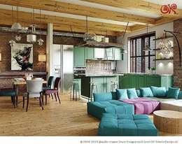Дизайн 4-комнатной квартиры с элементами лофта: Гостиная в . Автор – Дизайн студия Ольги Кондратовой