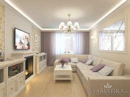 Дизайн интерьера квартиры площадью в г.Мытищи, 100 кв.м. : Гостиная в . Автор – variatika