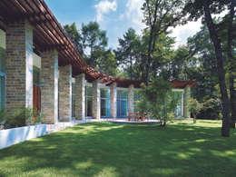 夏の外観   軽井沢の別荘建築   弧線上のVILLA: Mアーキテクツ 高級邸宅 豪邸 注文住宅 別荘建築 LUXURY HOUSES   M-architectsが手掛けた家です。