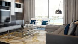 Departamento B-12: Salas multimedia de estilo moderno por CONTRASTE INTERIOR