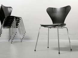 Arne Jacobsen für Fritz Hansen, Stuhl 3107, schwarz lasiert : skandinavische Esszimmer von frankfurt minimal - feine möblichkeiten
