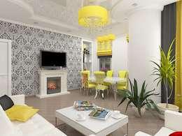 Необычная планировка квартиры с кухней нишей.: Гостиная в . Автор – Дизайн студия Марины Геба
