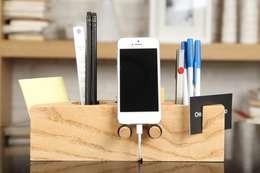 핸드폰거치대 연필꽂이 Grande (Desk Organizer Grande): Orange Wood의