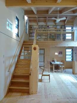 2階への階段: 上野貴建築研究所が手掛けた寝室です。