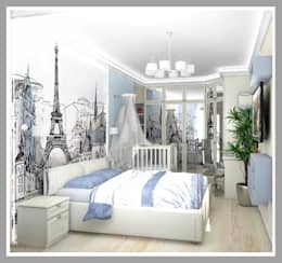 Комната для молодой семьи Вид 1: Спальни в . Автор – Рязанова Галина