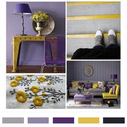 그레이 & 퍼플 & 머스타드 옐로우 컬러칩: LYCKA interior & styling의  거실