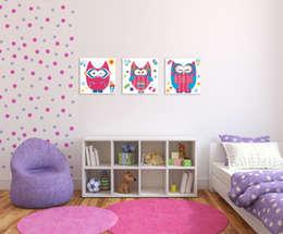 Komplet RÓŻOWE SOWY XXL : styl , w kategorii Pokój dziecięcy zaprojektowany przez PERPETUJA