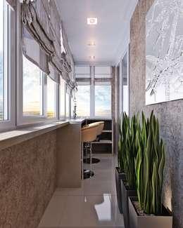 Достойный интерьер для маленького балкона: Tерраса в . Автор – Студия дизайна Interior Design IDEAS
