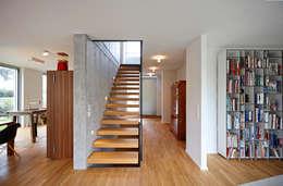 schwebende Treppenstufen an einer Sichtbetonwand mit Glasabtrennung:  Flur & Diele von Marcus Hofbauer Architekt