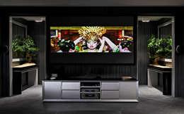 Salas multimedia de estilo ecléctico por Pedro Guimaraes Lda