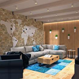 LOFT на Менякина: Гостиная в . Автор – QUADRUM STUDIO