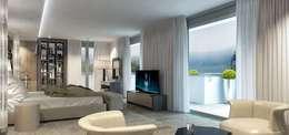 Интерьер двухуровневой квартиры, Швейцария, Локарно: Спальни в . Автор – LOFTING