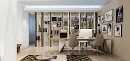 Интерьер двухуровневой квартиры, Швейцария, Локарно: Рабочие кабинеты в . Автор – LOFTING