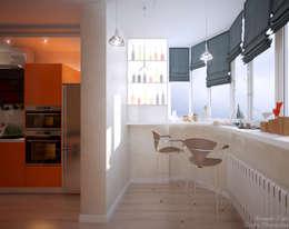 """Дизайн кухни в современном стиле в ЖК """"Панорама"""": Tерраса в . Автор – Студия интерьерного дизайна happy.design"""