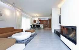Salas / recibidores de estilo moderno por Biuro Projektów MTM Styl - domywstylu.pl