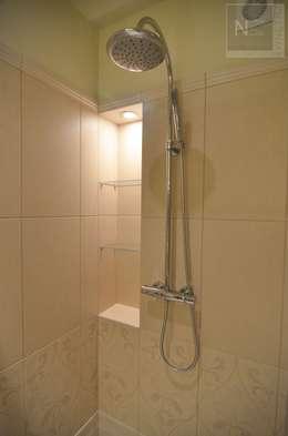 łazienka w beżach: styl , w kategorii Łazienka zaprojektowany przez Interno Natalia Margraf-Wojciechowska