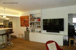 140 m2 Paris XV: Salle multimédia de style  par Desjoconception
