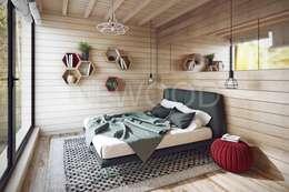 Cube: Спальни в . Автор – NEWOOD - Современные деревянные дома