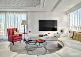 eclectic Media room by Viterbo Interior design