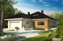 Casas de estilo moderno por Pracownia Projektowa ARCHIPELAG
