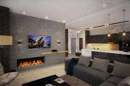 Salas / recibidores de estilo industrial por Solo Design Studio