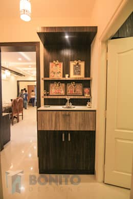 Pooja unit design: asian Living room by Bonito Designs Bangalore