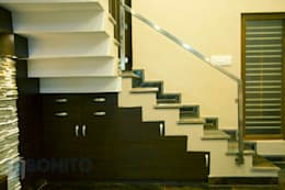 Stair case design: asian Corridor, hallway & stairs by Bonito Designs Bangalore