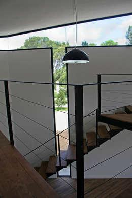 Iluminación natural en biblioteca: Estudios y oficinas de estilo moderno por Narda Davila arquitectura