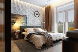 Спальня с элементами лофта и яркими акцентами: Спальни в . Автор – Solo Design Studio