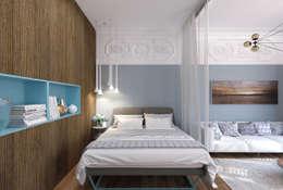1+1 studio: eklektik tarz tarz Yatak Odası