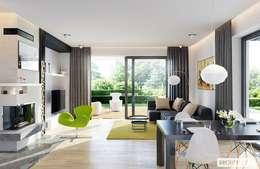 Projekt domu Astrid (mała) G2 | strefa dzienna: styl , w kategorii Salon zaprojektowany przez Pracownia Projektowa ARCHIPELAG