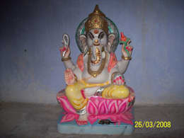 Beautiful Painted Marble Ganesha:  Garden  by Vinod Murti Museum