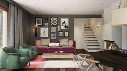 Dom z niebieską kuchnią: styl , w kategorii Salon zaprojektowany przez Finchstudio