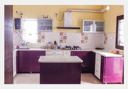 Villa at Appa Junction, Hyderabad.: mediterranean Kitchen by Happy Homes Designers
