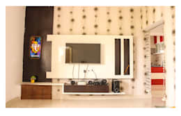 2 Bedroom Flat at Manikonda:  Multimedia room by Happy Homes Designers