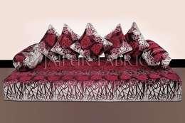 Magenta Color Velvet Floral Design Diwan Set: asian Living room by Jaipur Fabric