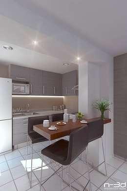 N-3d / arquitectura digital: Cocinas de estilo moderno por N-3D / ARQUITECTURA DIGITAL