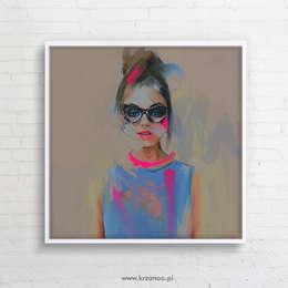 OBRAZ NA PŁÓTNIE 100x100cm (DIGITAL PAINTING, DRUK NA PŁÓTNIE): styl , w kategorii Sztuka zaprojektowany przez KRZANOO ART' PRACOWNIA ARTYSTYCZNA
