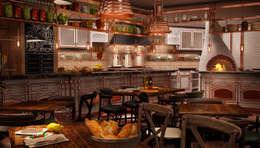 Mert Duyal - NuN Design – LA CASCINA Italian&French kitchen Restaurant: akdeniz tarzı tarz Yemek Odası
